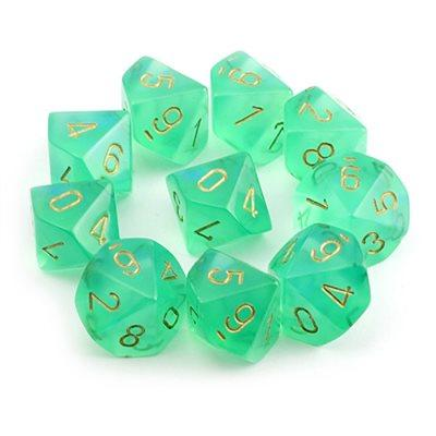 CHX27225 Borealis Light Green with Gold d10 Set* - Leisure Games
