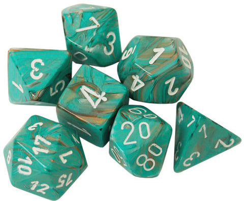 CHX27403 Set of 7 Poly Dice: Marble Oxi-Copper w/white