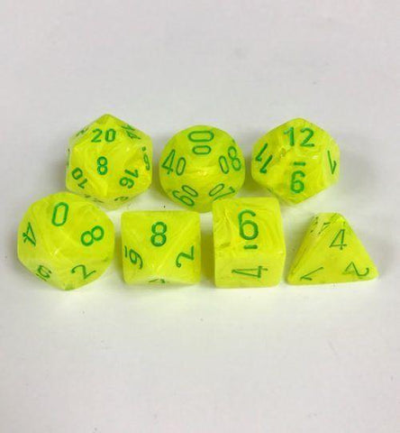CHX27422 Vortex Electric Yellow with Green 7-Die Set - Leisure Games