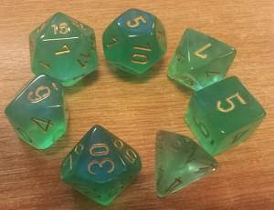 CHX27425 Borealis Light Green with Gold numbers Polyhedral Dice Set (7 dice) - Leisure Games