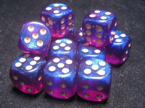 CHX27667 Borealis Royal Purple with Gold 16mm d6 Dice Block(12 d6)* - Leisure Games