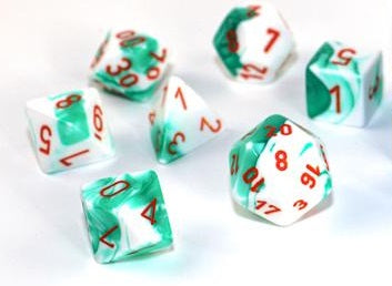 CHX30020 Gemini Polyhedral Mint Green-White/orange 7-Die Set - Lab Dice