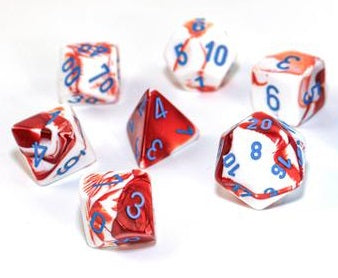 CHX30022 Gemini Polyhedral Red-White/blue 7-Die Set - Lab Dice (expected in stock on 24th February)