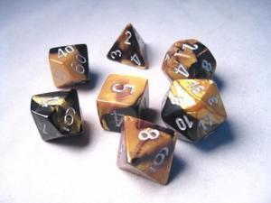CHX26451 Gemini Black-Gold with Silver Polyhedral 7-Die Set - Leisure Games