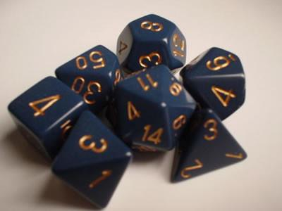 CHX25426 Opaque Dusty Blue with Gold Polyhedral 7-Die Set* - Leisure Games