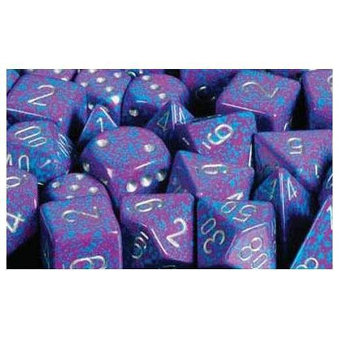 CHX25747 Speckled Silver Tetra 16mm d6 Dice Block(12 d6)* - Leisure Games