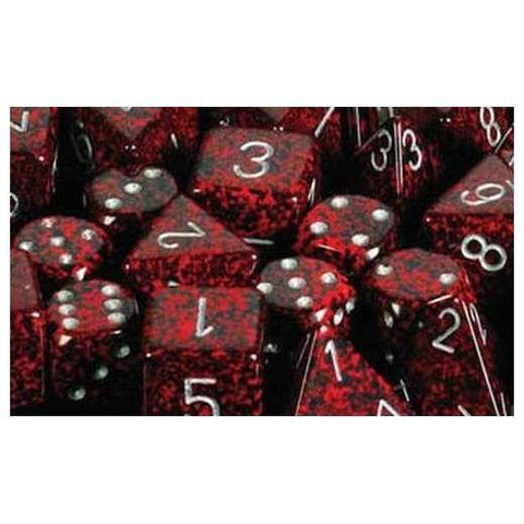 CHX25744 Speckled Silver Volcano 16mm d6 Dice Block(12 d6)*