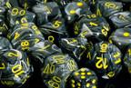 CHX27638 Vortex Black with Yellow 16mm d6 Dice Block(12 d6) - Leisure Games