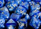 CHX27636 Vortex Blue with Gold 16mm d6 Dice Block(12 d6) - Leisure Games