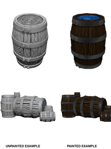WZK73361 WizKids Deep Cuts Unpainted Miniatures: Barrel & Pile of Barrels