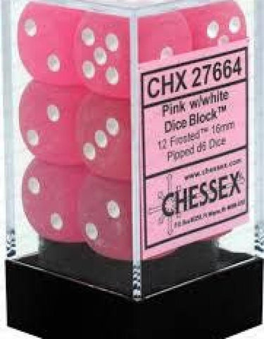 CHX27664 Frosted Pink/white16mm d6 Dice Block(12 d6)