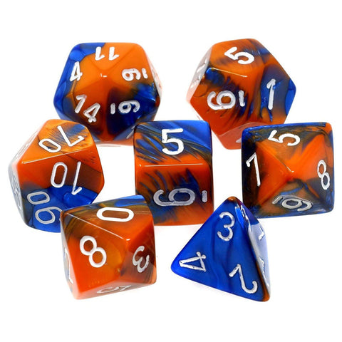 CHX26452 Gemini Blue-Orange with White Polyhedral 7-Die Set