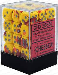 CHX26850 Gemini Red/Yellow with Silver 36 x 12mm D6 Set - Leisure Games