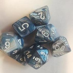 CHX27490 Lustrous Slate/White Polyhedral Dice Set