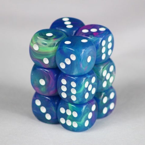 CHX27746: 16mm d6 Dice Block: Festive™ Waterlily™ w/white (expected in stock on 23rd July)