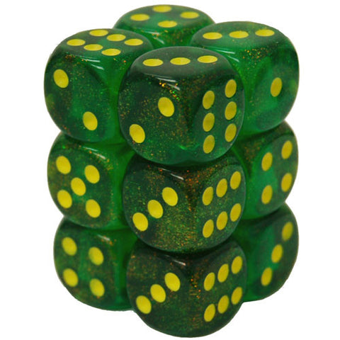 CHX27765 16mm d6 Dice Block: Borealis Maple Green/yellow