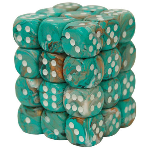 CHX27803 12mm d6 Dice Block: Marble Oxi-Copper w/white