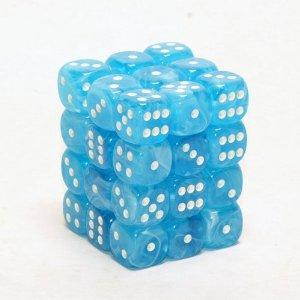 CHX27846 Cirrus Light Blue with White 36 x 12mm D6 Set - Leisure Games