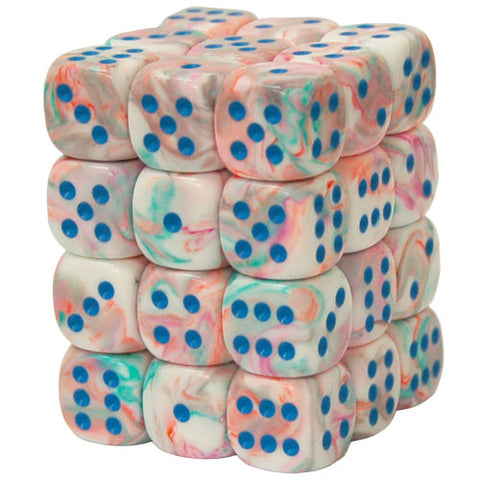 CHX27944 12mm d6 Dice Block: Festive Pop Art w/blue