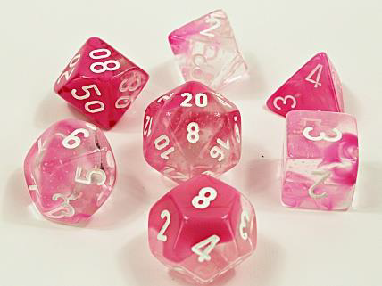 CHX30042 Poly 7 Set: Gemini Clear-Pink Luminary Lab Dice Wave 4 (expected in stock on 11th August)