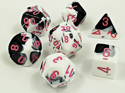 CHX30043 Poly 7 Set: Black-White/Pink Luminary Lab Dice Wave 4 (expected in stock on 11th August)