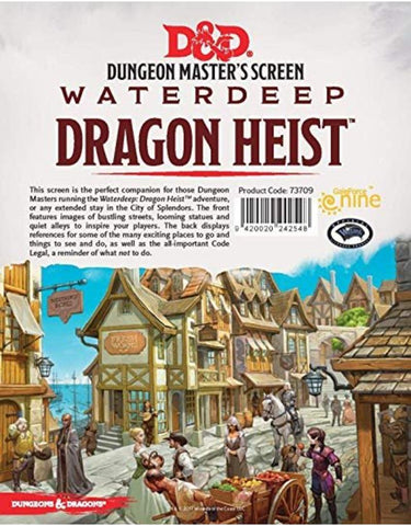D&D DM Screen - Waterdeep Dragon Heist - Leisure Games