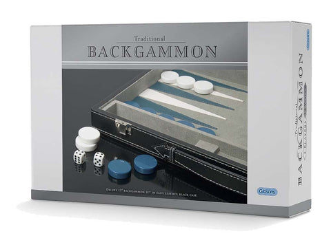 "Traditional Backgammon (11""Faux Leather Black Case)"