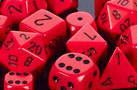 CHX25614 Opaque Red with Black 16mm d6 Dice Block(12 d6)* - Leisure Games