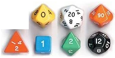Opaque Dice Set (7) - random mix of colours, for specific colours please contact us