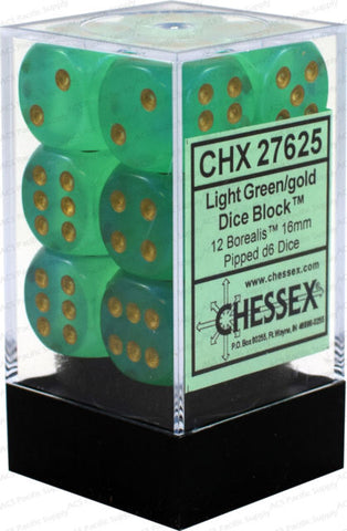 CHX27625 Borealis Light green/gold 16mm d6 Dice Block(12 d6)