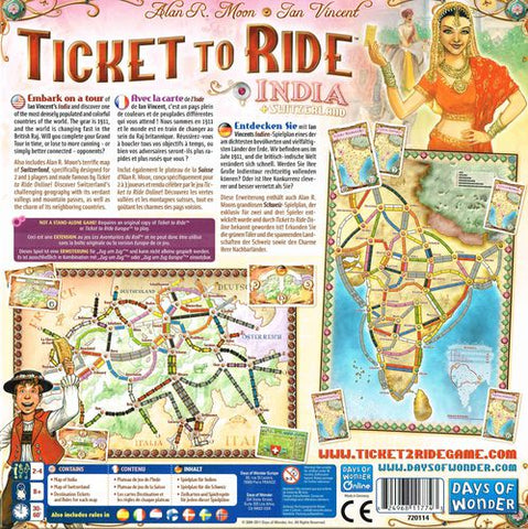 Ticket To Ride India Map.Ticket To Ride Map Collection Volume 2 India Switzerland