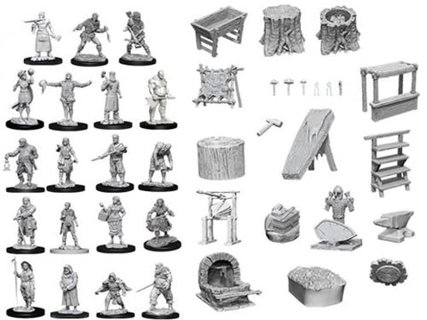 WZK73698: Townspeople and Accessories: D&D Deep Cuts Unpainted Miniatures