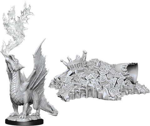 WZK90028: Gold Dragon Wyrmling & Treasure Pile: D&D Nolzur's Marvelous Unpainted Miniatures (W11)