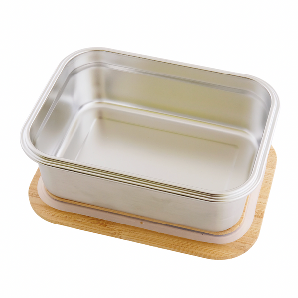 Stainless Steel Rectangular Container with Bamboo Lid - 40oz