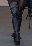 SIGNATURE BLACK THIGH HIGH ILLUSION BOOT LEGGINGS