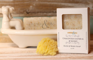 Unscented Honey & Oatmeal Soap - Lavender & Lilac