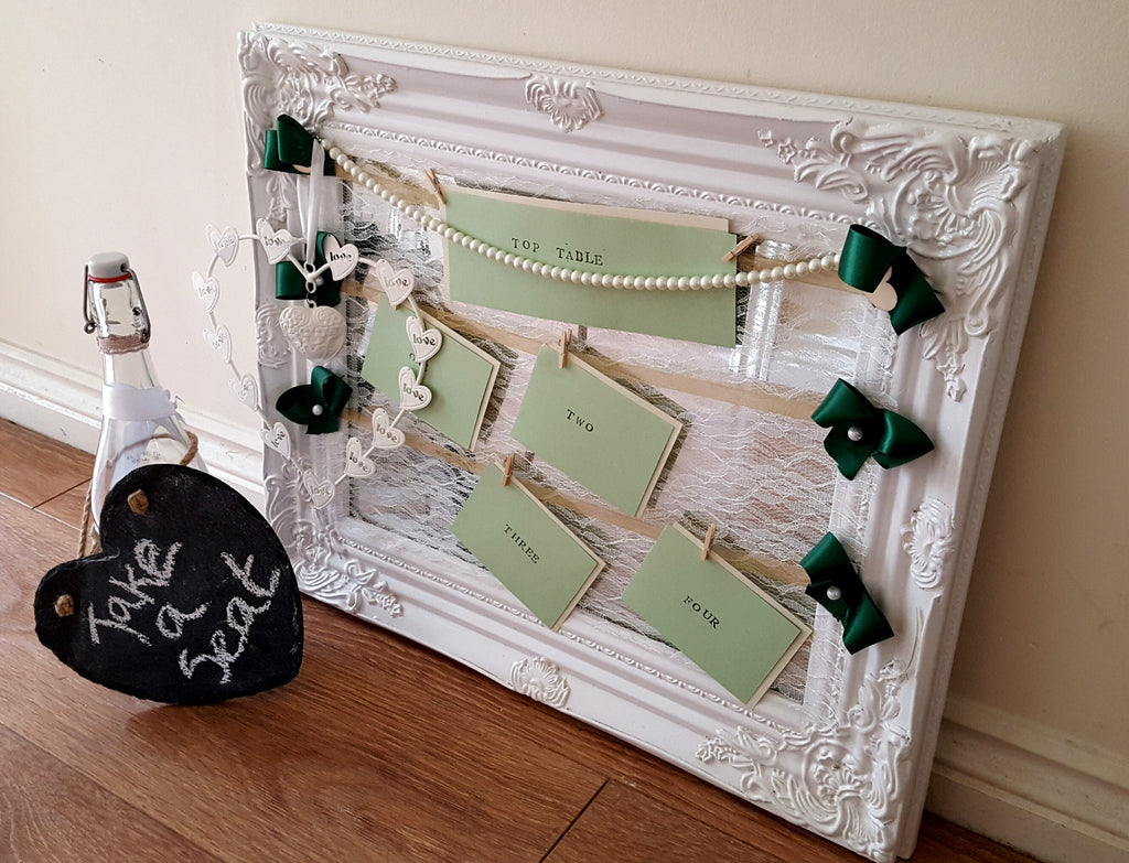 Vintage Table Plan in Mirror Frame