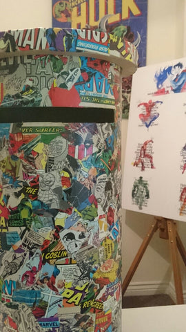 Decoupaged Comic Book Wedding Postbox