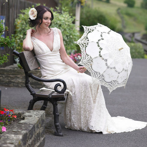 Wedding Parasol in White Lace
