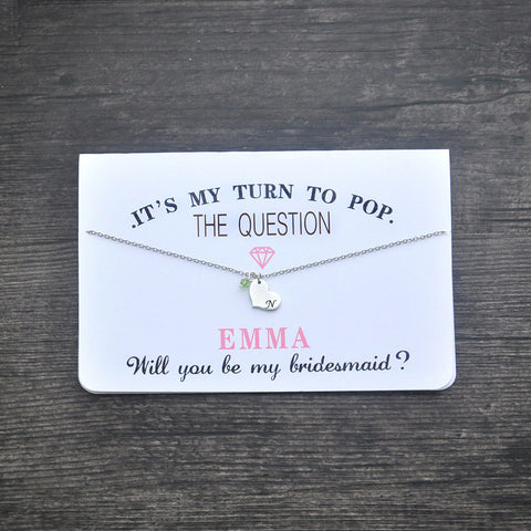 Be My Bridesmaid Card with Necklace Gift Set