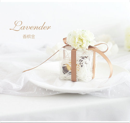 Clear Wedding Favour Boxes with Coloured Ribbon (Natural)
