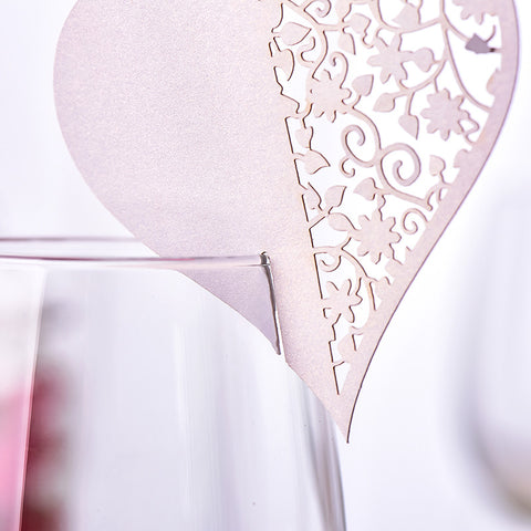 Folded Heart Place Name Slip-On Wine Glass Cards (x50)