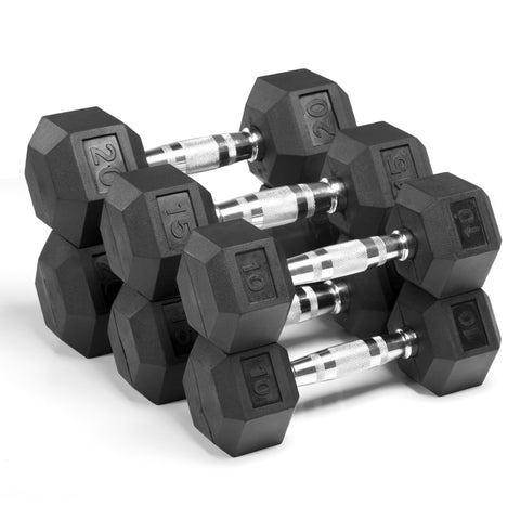 XMark  Premium Quality, Rubber Coated Hex Dumbbells XM-3301-1020-F - Home Gyms Depot
