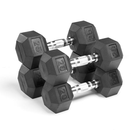XMark  Premium Quality Rubber Coated Hex Dumbbells XM-3301-2025-D - Home Gyms Depot