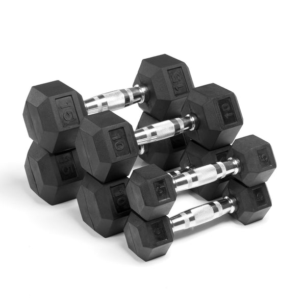 XMark Premium Quality,  Rubber Coated Hex Dumbbells are Built Tough, Built to Last XM-3301-515-A - Home Gyms Depot