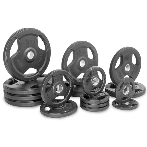 XMark Premium Quality Rubber Coated Tri-grip Olympic Plate Weights XM-3377-BAL-345 - Home Gyms Depot