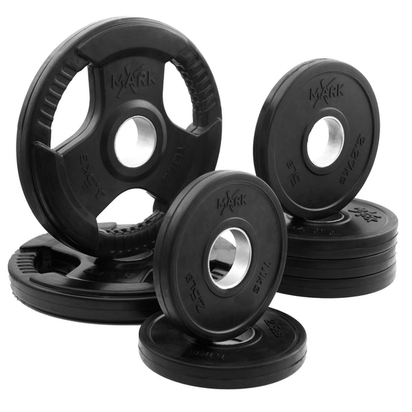 XMark Premium Quality Rubber Coated Tri-grip Olympic Plate Weights XM-3377-BAL-45 - Home Gyms Depot