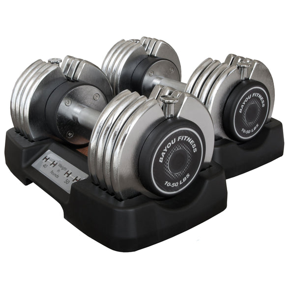 XMark Bayou Fitness 50 lb. Adjustable Dumbbells (Pair) BF-0250 - Home Gyms Depot