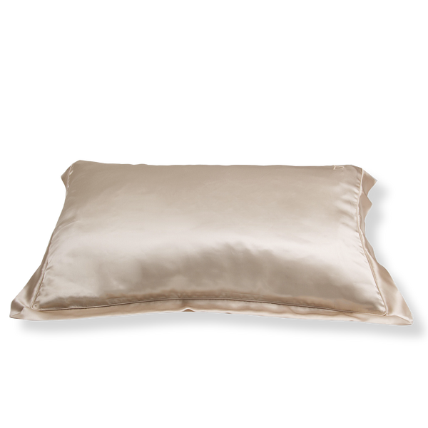 SET OF DAME ESSENTIALS CHAMPAGNE GOLD PILLOWCASE AND CHARCOAL GREY EYE MASK