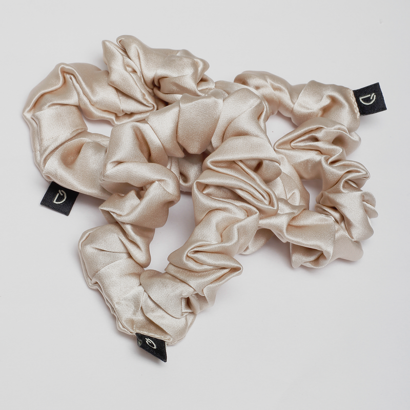 Champagne Gold Pure Silk Scrunchies